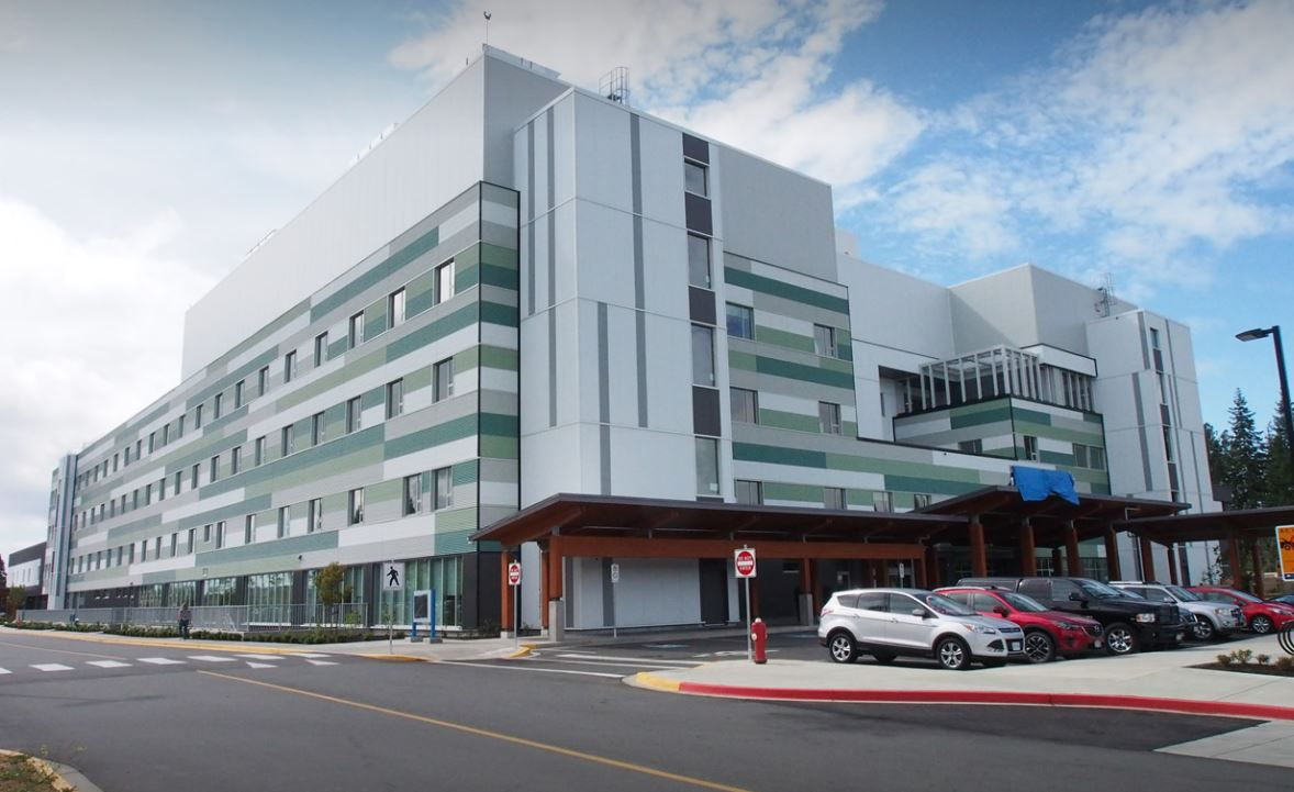Exterior shot of the Comox Valley Hospital